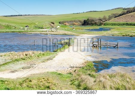 Views Of Cucmere River Near Seaford And Eastbourne, East Sussex, Footpath Leading To Cuckmere Haven