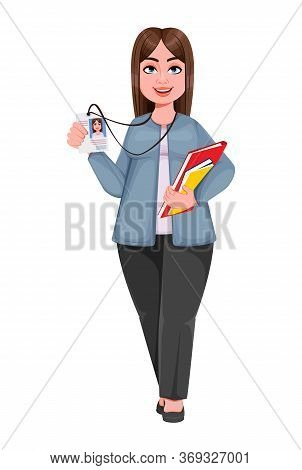 Happy Large Business Woman, Woman Of Plus Size Holding Badge. Cheerful Chubby Businesswoman Cartoon