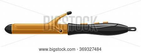 Barber Illustration Of Professional Hair Curling Iron. Hairdressing Salon Item.