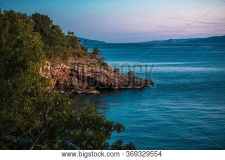 Northern Croatia. Scenic Evening And The Croatian Sea Coast. Mediterranean Sea.