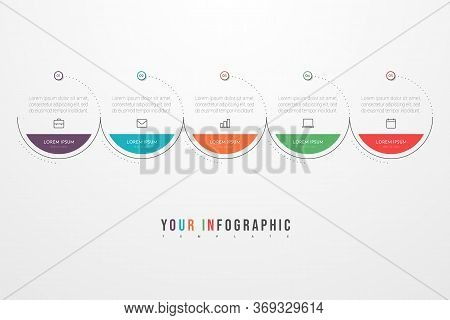 Minimal Business Infographics Template With 5 Steps, Options And Marketing Icons. Vector Infographic