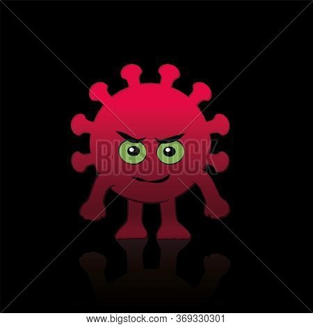 Coronavirus Comic Figure. Evil, Bad Covid Villain Character With Eyes, Mouth, Hands And Feet. Isolat