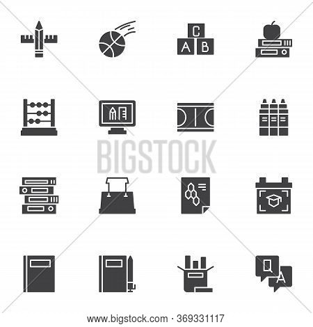 Back To School Vector Icons Set, Education Modern Solid Symbol Collection, Filled Style Pictogram Pa