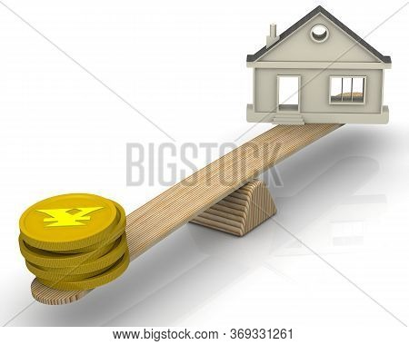 Real Estate Appraisal In Chinese Yuan. The Money (golden Coins With The Symbol Of The Chinese Yuan)