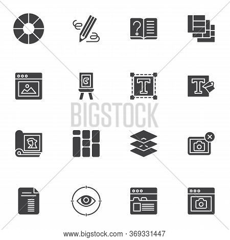 Online Editorial Design Vector Icons Set, Modern Solid Symbol Collection, Filled Style Pictogram Pac