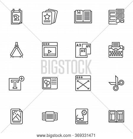 Editorial Design Line Icons Set, Outline Vector Symbol Collection, Linear Style Pictogram Pack. Sign