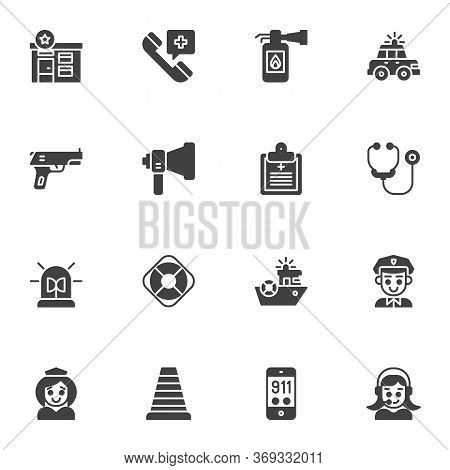 Emergency Rescue Vector Icons Set, Modern Solid Symbol Collection, Filled Style Pictogram Pack. Sign