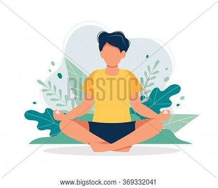 Man Meditating In Nature And Leaves. Concept Illustration For Yoga, Meditation, Relax, Recreation, H
