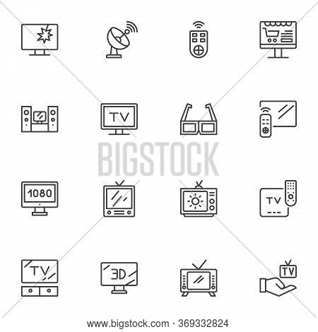 Television Screen Line Icons Set, Outline Vector Symbol Collection, Linear Style Pictogram Pack. Sig