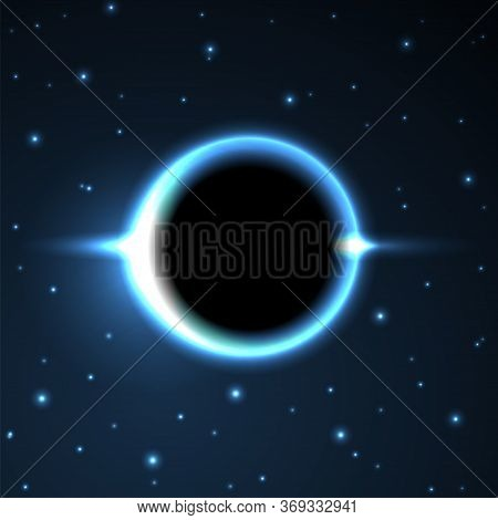 Supermassive Black Hole Or Solar Eclipse. Blue Deep Space. The Black Hole Destroys The Blue Star. Ve