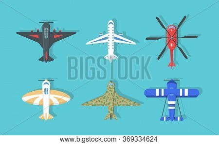 Set Of Colourful Planes And Helicopters Icons. Flying Airplane In The Sky In A Flat Style, Top View.