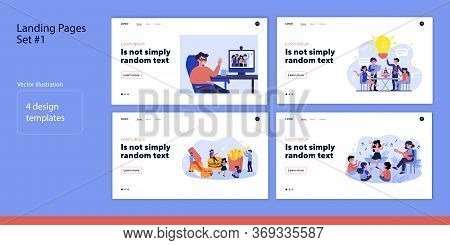 Online And Offline Meeting Set. Kids At School, Office Team, Cafe Customers, Video Call. Flat Vector