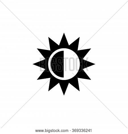 Solar Eclipse, Aligned Sun And Moon. Flat Vector Icon Illustration. Simple Black Symbol On White Bac