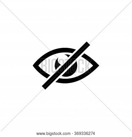 Blind, Disabled Eye, No View, Hidden Visibility. Flat Vector Icon Illustration. Simple Black Symbol