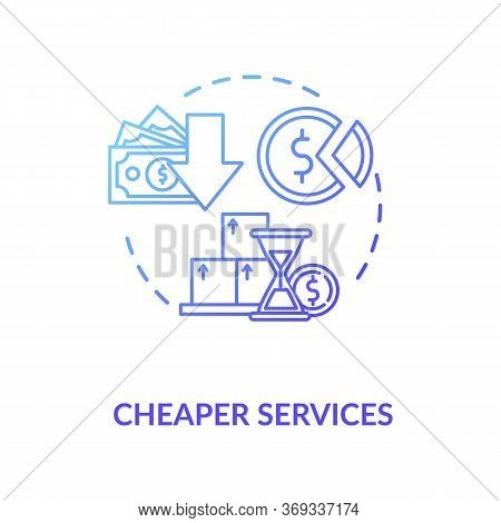 Cheaper Services Blue Gradient Concept Icon. Marketing Strategy. Trading Solution. Commerce, Money.