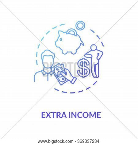 Extra Income Blue Gradient Concept Icon. Investment To Make Additional Earning. Revenue For Employee