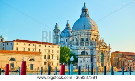 Santa Maria della Salute church on The Grand Canal in Venice in the early evening,  Italy - Italian landmark