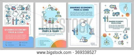 Sharing Economy Pros And Cons Brochure Template. P2p Business Benefits Flyer, Booklet, Leaflet Print