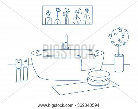 Hand Drawn Bathroom Interior. Sketch Bathtubs And Other Bathroom Items. Vector Illustration In Sketc
