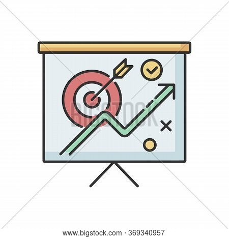 Marketing Strategy Rgb Color Icon. Corporate Project Presentation. Objective For Growth. Financial P