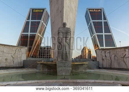 Madrid, Spain - January 23, 2018:  Sunrise View Of Gate Of Europe And Obelisk Of Calatrava At Paseo