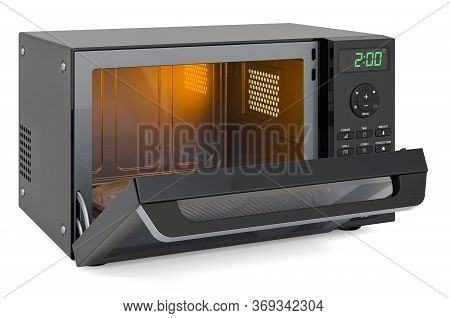Opened Combination Oven, Microwave. 3d Rendering Isolated On White Background