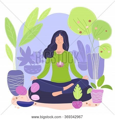 Green Lifestyle Home Yoga Flat Vector Illustrations. Young Girl Meditates In A Green House. Home Yog
