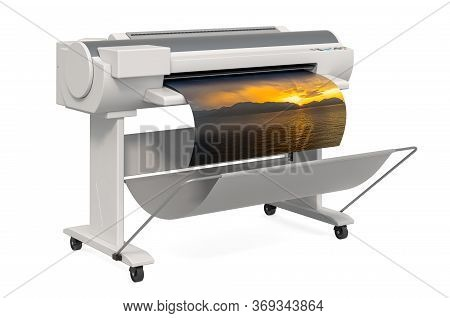 Large Format Inkjet Printer. 3d Rendering Isolated On White Background
