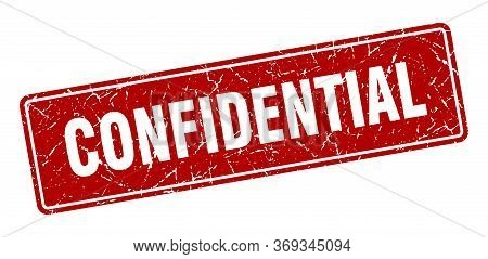 Confidential Stamp. Confidential Vintage Red Label. Sign