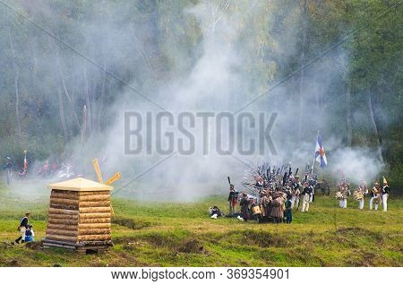 Battle Of Borodino - Historical Reenactment Of Russian-french Fight In 1812. Moscow Region, Russia.