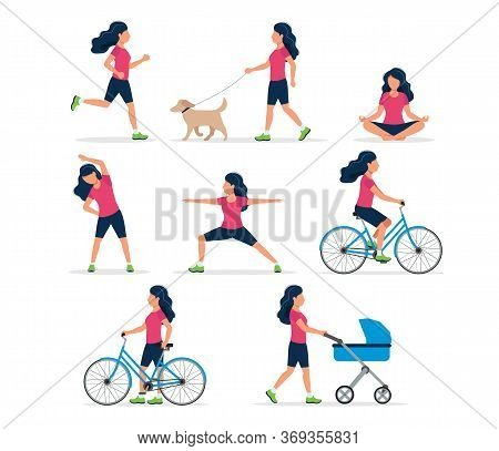 Happy Woman Doing Different Outdoor Activities: Running, Dog Walking, Yoga, Exercising, Sport, Cycli