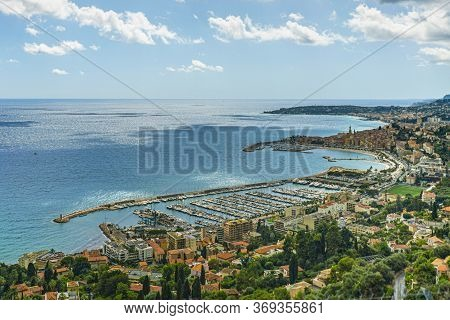 Port Of Menton, Cote D'azur, France. Coastline Of French Riviera.