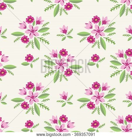 Seamless Pattern With Decorative Pink Elegant Flowers
