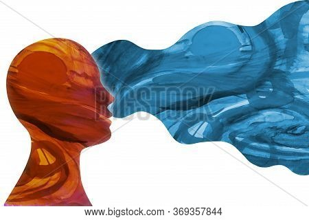 Mental Health Concept. Behavior Metaphor And Mood. Isolated Head Face Human Person In Profile Thinki