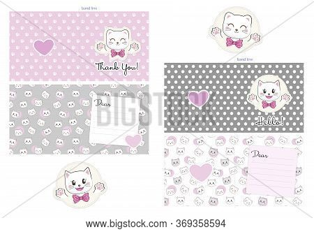 2-sided Postcard Template. Set Of Gratitude Card, Celebration Card With Kittens And Hearts. Cute Cat