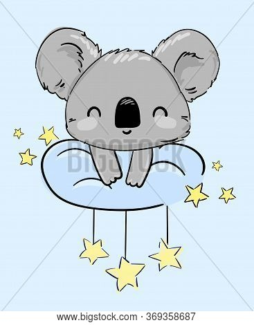 Ute Koala Sitting On A Cloud And Stars. Vector Illustration. Print For Home Clothes, Pajamas, A Nigh