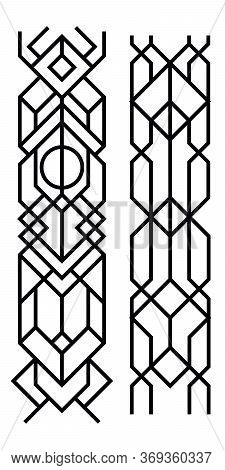 Black Abstract Geometric Ornament. Art Deco Style, Trendy Vintage Design Element. Black Grill On A W