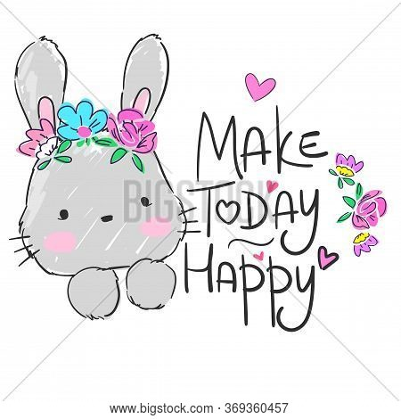 Hand Drawn Cute Rabbit With Flowers Isolated On White Background. Sketch Rabbit Childish Illustratio
