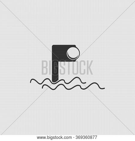 Periscope Icon Flat. Black Pictogram On Grey Background. Vector Illustration Symbol