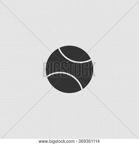 Baseball Icon Flat. Black Pictogram On Grey Background. Vector Illustration Symbol