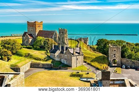 St Mary In Castro Church And A Roman Lighthouse At Dover Castle In Kent, England
