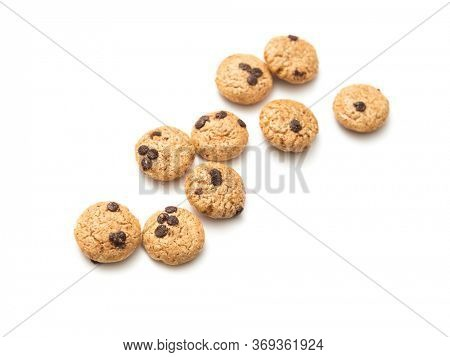Chocolate chip cookies cereal on white