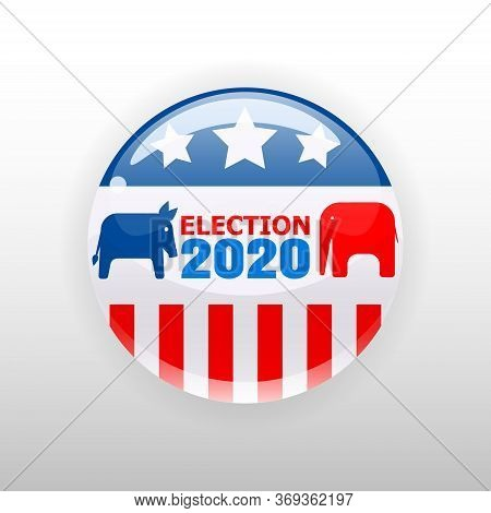 Election 2020 Vote United States Of America Button Election, Badge, Elephant And Donkey Republican A