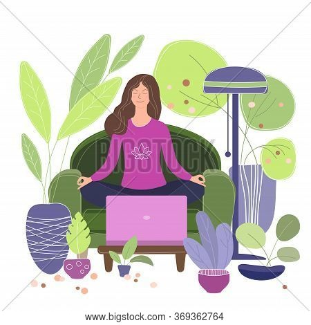 Green Lifestyle Yoga At Home Flat Vector. Mindfulness Yoga On-line Illustration. Girl Meditates A Gr