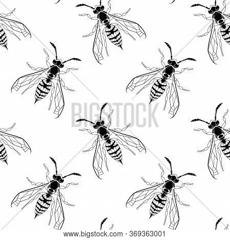 Wasp Insect Seamless Pattern. Dangerous Design For Textile, Fabric Texture. Black And White Bugs Iso