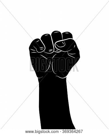 Black Silhouette Of A Male Rising Fist On A White Background With White Lines Defining Fingers And T