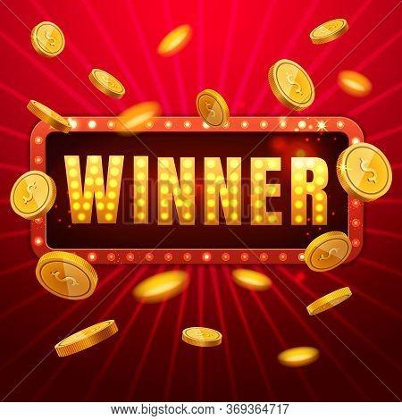 Winner Banner. Win Congratulations Vintage Frame, Golden Congratulating Framed Sign With Gold Flying