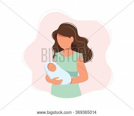 Woman Holding Newborn Baby, Concept Vector Illustration In Cute Cartoon Style, Health, Care, Materni