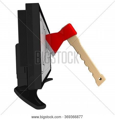 Axe Splits Monitor. The Ax Smashed Monitor. Isolated. 3d Illustration