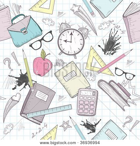 Cute School Abstract Pattern. Seamless Pattern With Alarm Clock, Bags, Glasses, Stars, Books And Ink